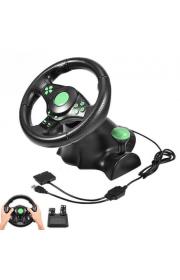 Проводной руль XPRO с системой виброотдачи и педалями 3в1 Cовместимость с PS3/PS2/PC Black