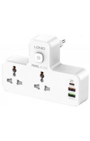 Сетевой фильтр-удлинитель LDNIO SC2311 LED лампа 2 розетки, 2USB, 1Type-C, White