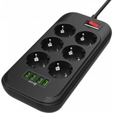Сетевой фильтр-удлинитель Ldnio SE6403 6 розеток/4 USB 2 м Black (SE6403)