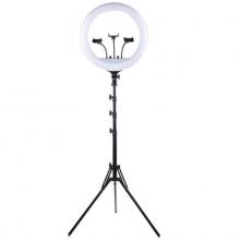 Кольцевая лампа RL-18 Plyus 3 держателя для смартфона штатив-тренога и сумкой для переноски Черный