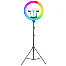 Кольцевая лампа RGB MJ-18 c пульт управления та сумка для переноски Черный