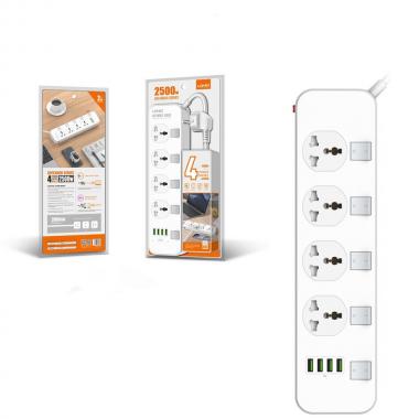 Сетевой удлинитель 4-USB Ldnio Port Multi Plug Extension Cord with  Outlets White