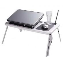 Столик для ноутбука E-Table / Компьютерный стол для ноутбука с вентиляторами черно-белый