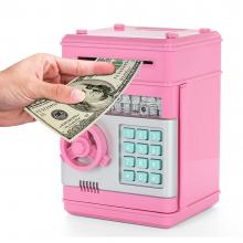 Сейф-копилка Number Bank с кодовым замком подходит для монет и купюр. Оснащен механизмом, который автоматически затягивает купюры розовый.