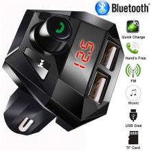 Автомобильный Bluetooth 3,0 FM передатчик Home Fest громкой связи беспроводной MP3-плеер 5 в 2.1A двойной зарядное устройство USB адаптер Быстрая зарядка черный