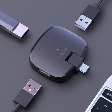 USB-хабы Переходник HUB Hoco HB11 Type-C to 3 USB Черный