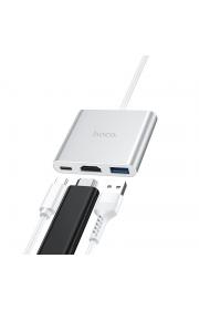 USB-хаб  HUB Hoco HB14 Type-C to USB3.0+HDMI+PD Стальной