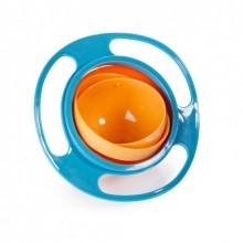 Детская тарелка-неваляшка Universal Gyro Bowl Jin из экологически безопасного пластика тарелка-непроливайка Голубой с оранжевым
