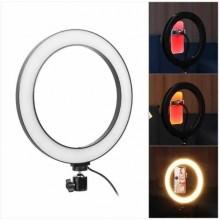 """Кольцевая светодиодная Led лампа RID для блогера селфи фотографа визажиста D 26 см  """"доступное профессиональное освещение для фото и видео съемки"""" Black"""