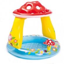 Надувной бассейн с навесом Гриб 102*89с м 57114 Интекс Intex грибочек с надувным дном  Разноцвет