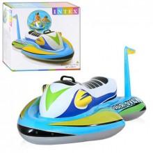 Детский надувной водный мотоцикл Intex для катания подарить детям массу удовольствия хорошая игрушка для совмесного отдиха 117 х 77 см Голубой