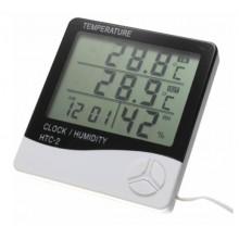 Термогигрометр метеостанция Generic HTC-2 со съемным внешним датчиком часы будильник White