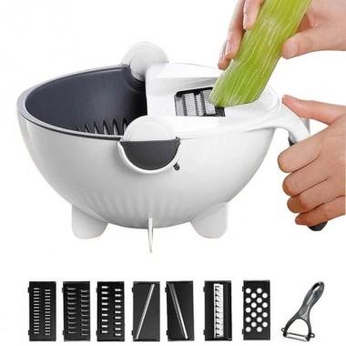 Универсальная Терка - овощерезка 9 в 1 с дуршлагом , шинковка, измельчитель M+ Vegetable cutter VC2
