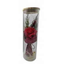 РОЗА В КОЛБЕ с LED UKC подстветкой романтический подарок ночник 26 см красная