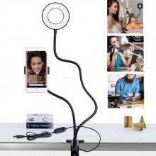 Держатель гибкий UKC для смартфона штатив PLUS LED подсветкой кольцо на прищепке для трансляций блогера Professional Live Stream Black