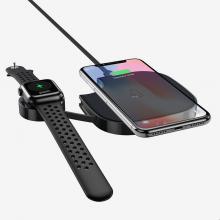 Беспроводное зарядное устройство HOCO для смартфонов беспроводных наушников и смарт часов S5 2in1 Черный