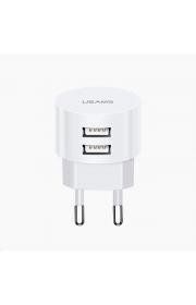 Зарядные устройства для телефонов USAMS и не только T20 Dual USB Round Travel Charger Белый