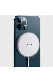 Беспроводное зарядное устройство Usams US-CD160 W2,15W, Type-C (магнитный) Серебряный