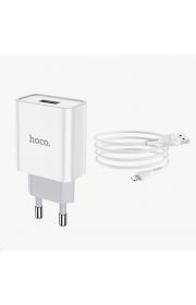 Сетевой адаптер HOCO C81A 1 USB / 2.1 A с Ligthning кабелем Белый